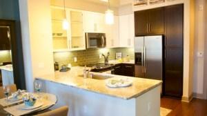 Kitchen at Alara Uptown Apartments in Uptown Dallas TX Lux Locators Dallas Apartment Locators