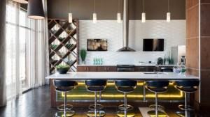 Living Room Kitchen at Avant Apartments in Uptown Dallas TX Lux Locators Dallas Apartment Locators
