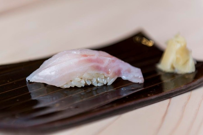 Sushi Shin Tai Sushi with Pickled Ginger in Annupuri Village Niseko on LuxNiseko Alpine Luxury Lifestyle Magazine