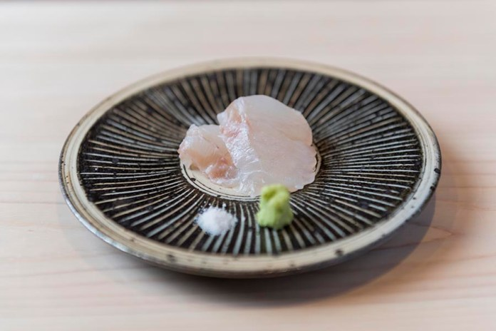 Sushi Shin Seasonal Fish Sashimi with Wasabi & salt in the Kamui Annupuri Village Niseko on LuxNiseko Alpine Luxury Lifestyle Magazine
