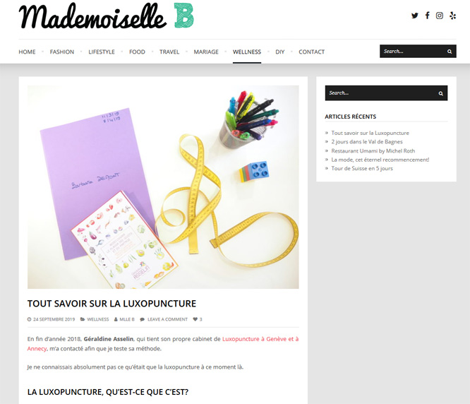 Blog Mademoiselle B - article luxopuncture