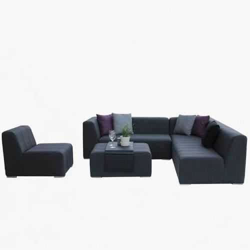 Cube corner sofa set slate