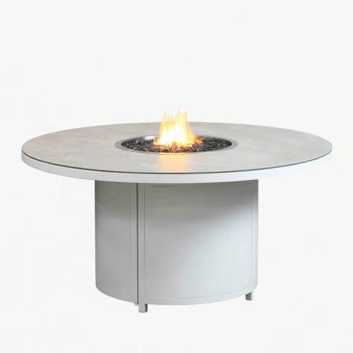 flame 180 gas fire table white stone