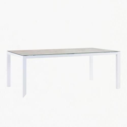 ocean 220x100cm dining table white stone