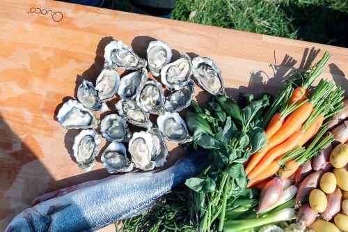 Quoco butcherblock seafood and veggies