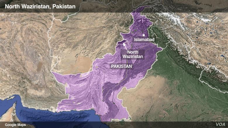 Map of North Waziristan, Pakistan
