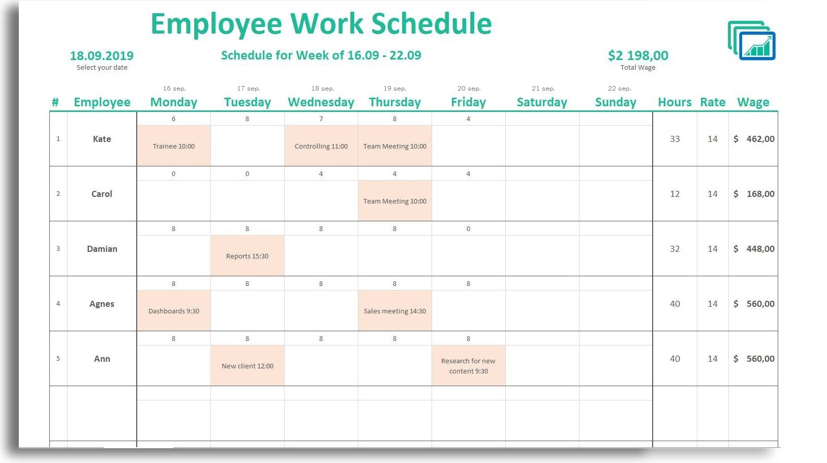 Mary king published january 8, 2020 with more than a decade of hospitality experience, mary has worked in some of the most celebrated restaurants in the world. Free Weekly Daily Schedule Spreadsheet Luxtemplates