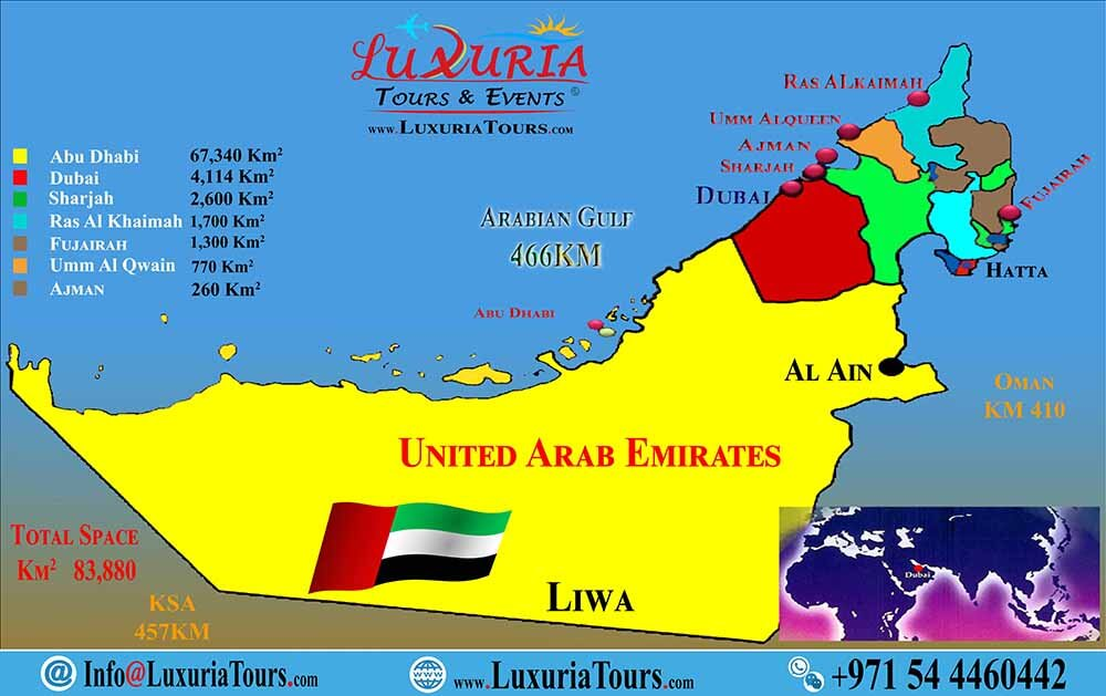 7 Emirates Map - Luxuria Tours & Events