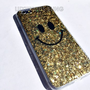 GOLD Sparkly Glitter Smiley Face iPhone 6 Case 3