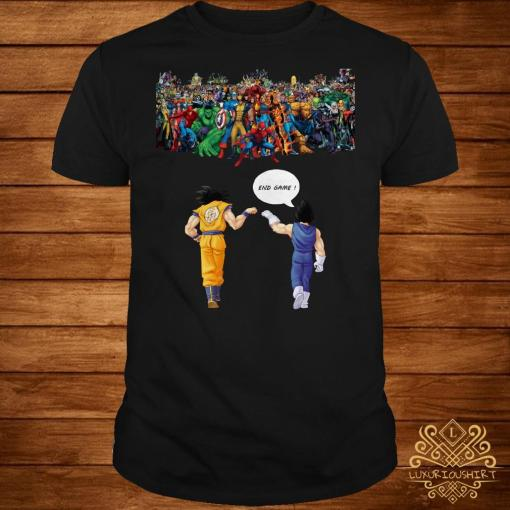 Endgame Goku and Vegeta vs Avenger Marvel shirt