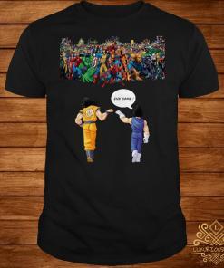 Endgame Goku and Vegeta vs Avenger Marvel shirt