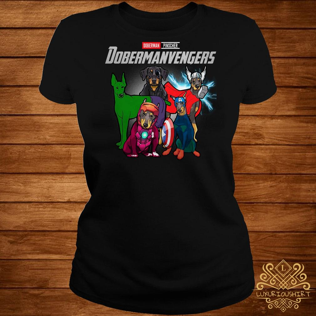 Marvel Avengers Doberman Pinscher Dobermanvengers ladies tee