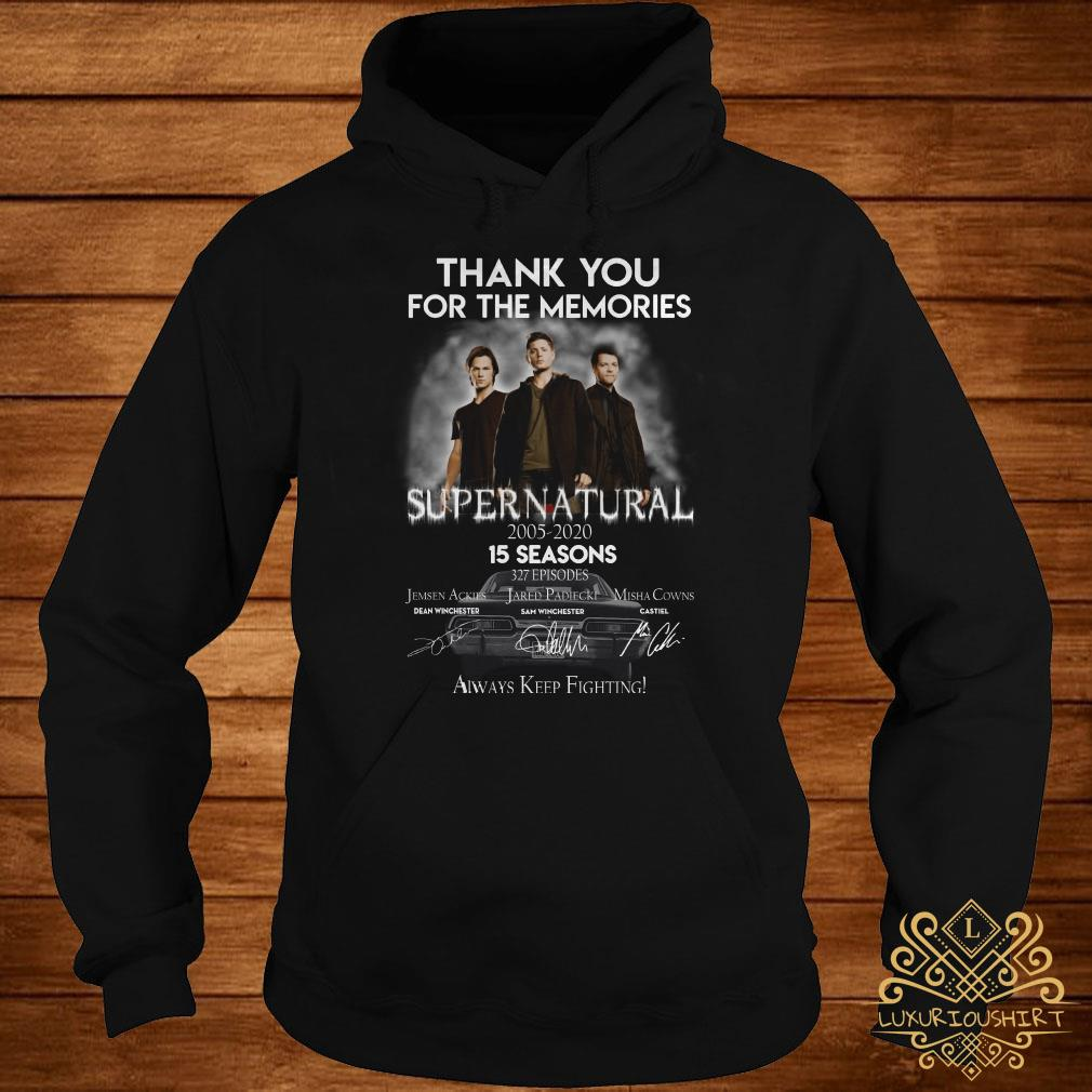 Thank you for the memories supernatural 15 seasons all signature hoodie
