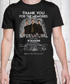 Thank you for the memories supernatural 15 seasons all signature shirt