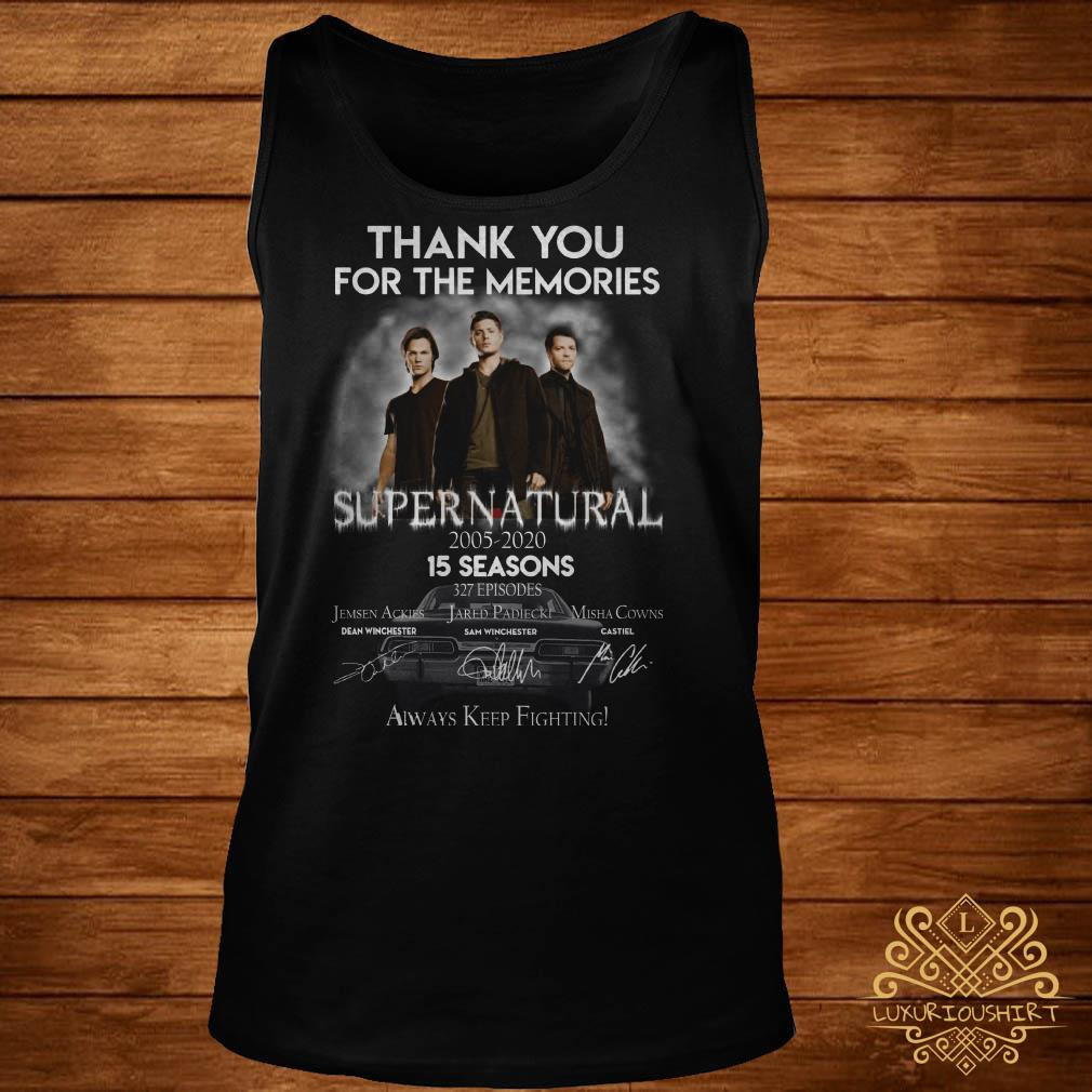 Thank you for the memories supernatural 15 seasons all signature tank-top