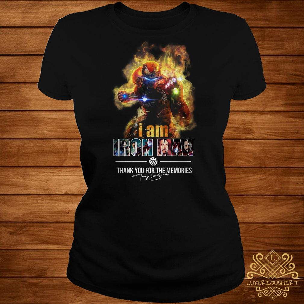 I am Iron Man thank you for the Memories signature ladies tee