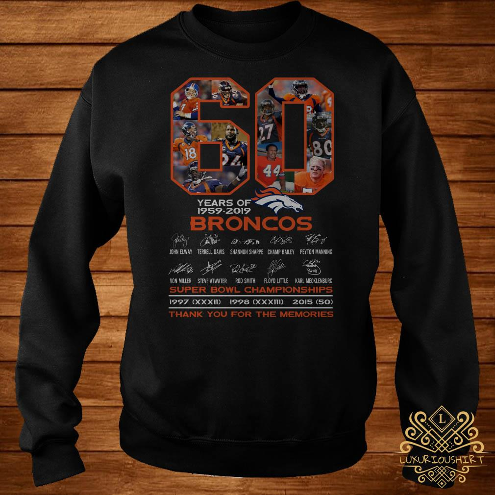 60 years of 1959-2019 Broncos super bowl Championships thank you for the memories sweater