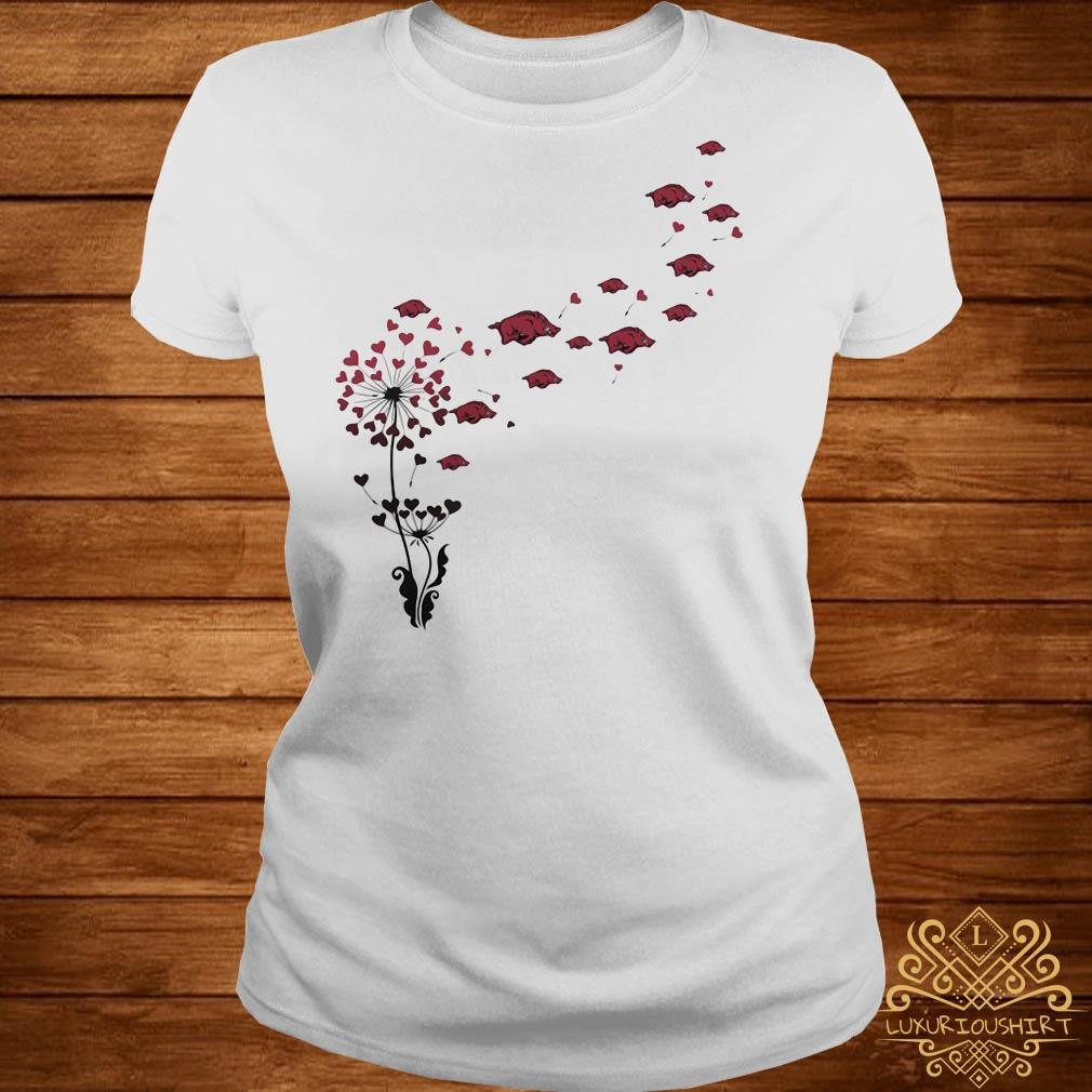 Dandelion heart flowers with boar petal ladies tee