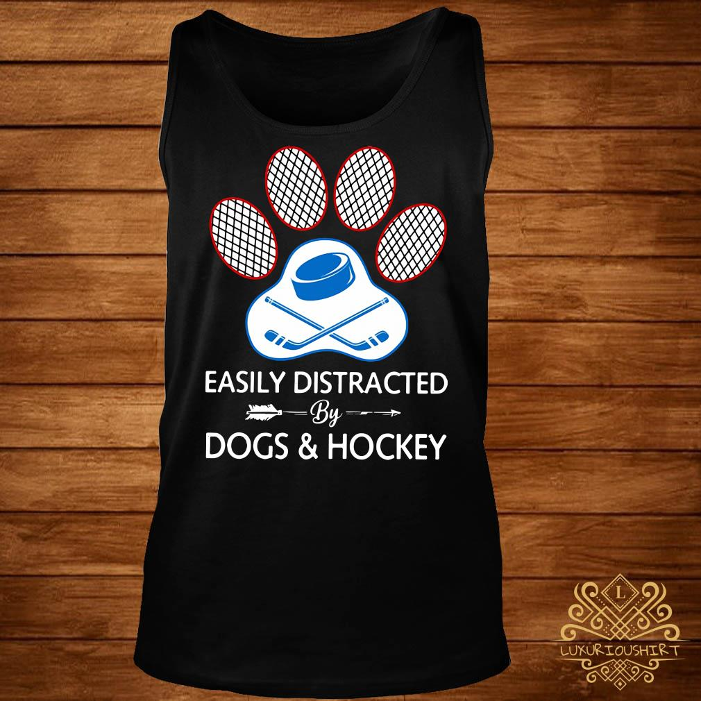 Paw easily distracted dogs and hockey tank-top