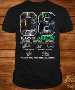08 years of Arrow thank you for the memories signatures shirt