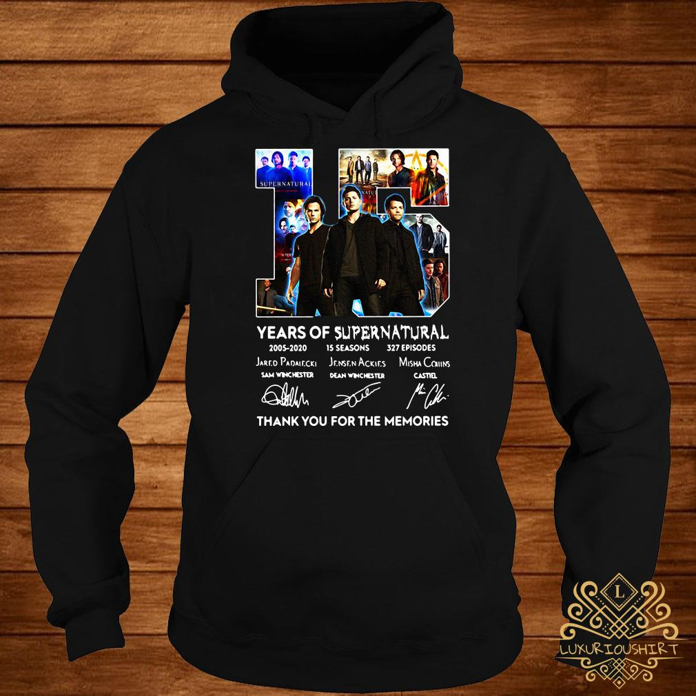 15 years of Supernatural thank you for the memories signatures hoodie