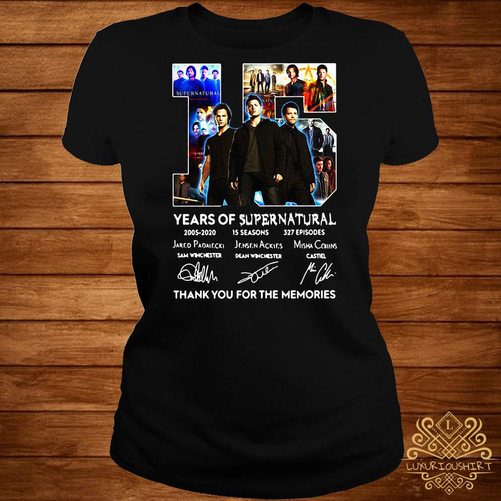 15 years of Supernatural thank you for the memories signatures ladies tee