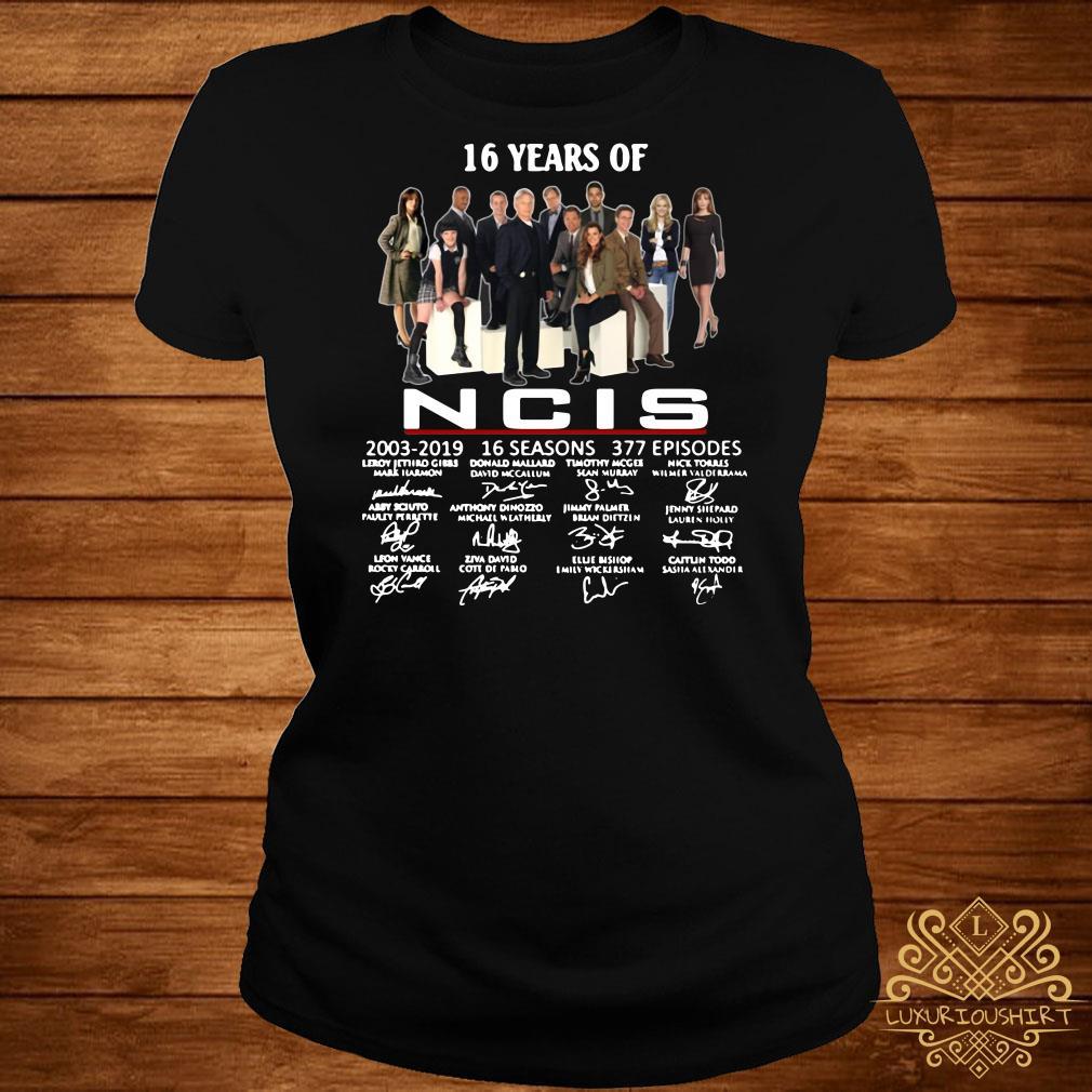 16 years of NCIS 2003-2019 signatures ladies tee