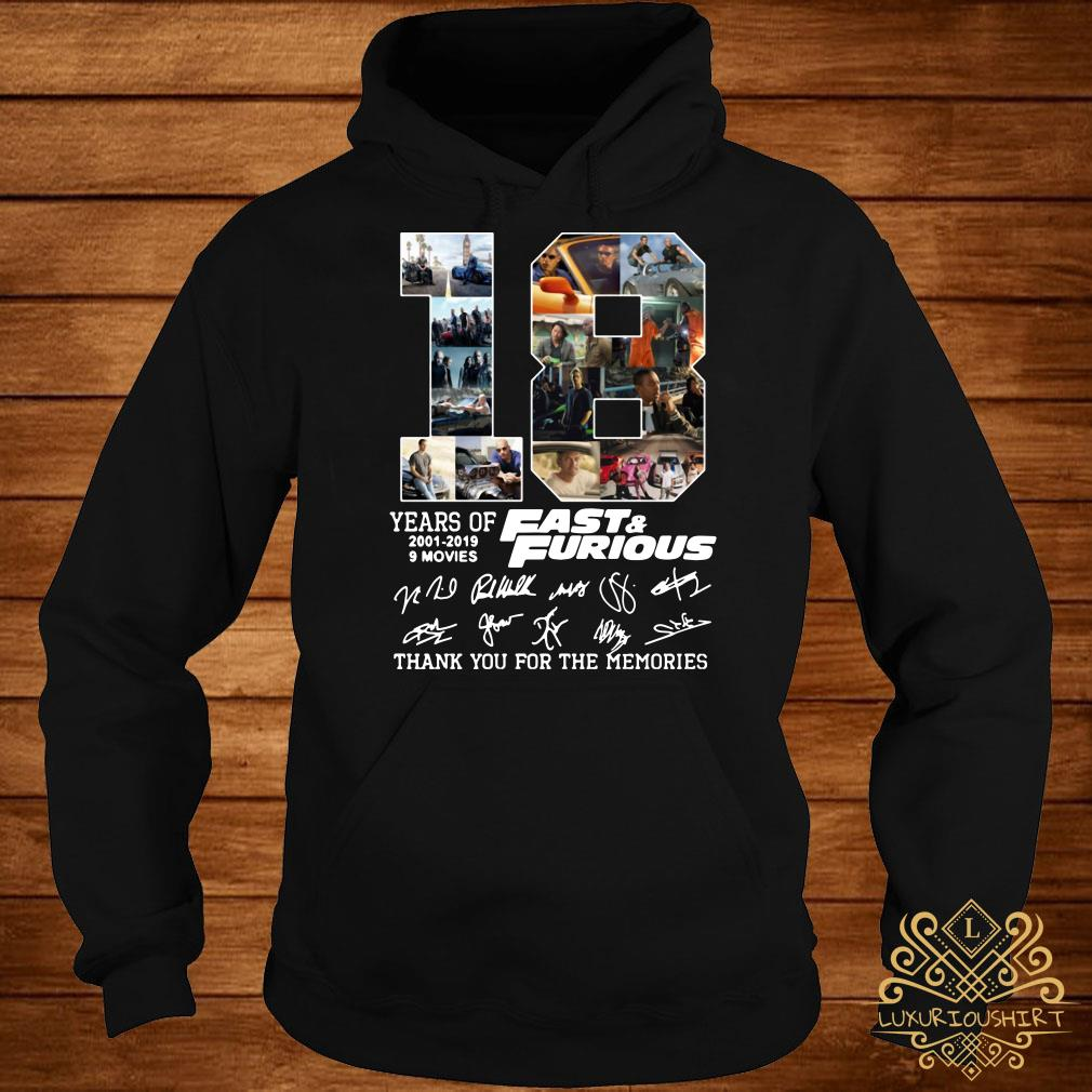 18 years of Fast and Furious 2001-2019 signature hoodie