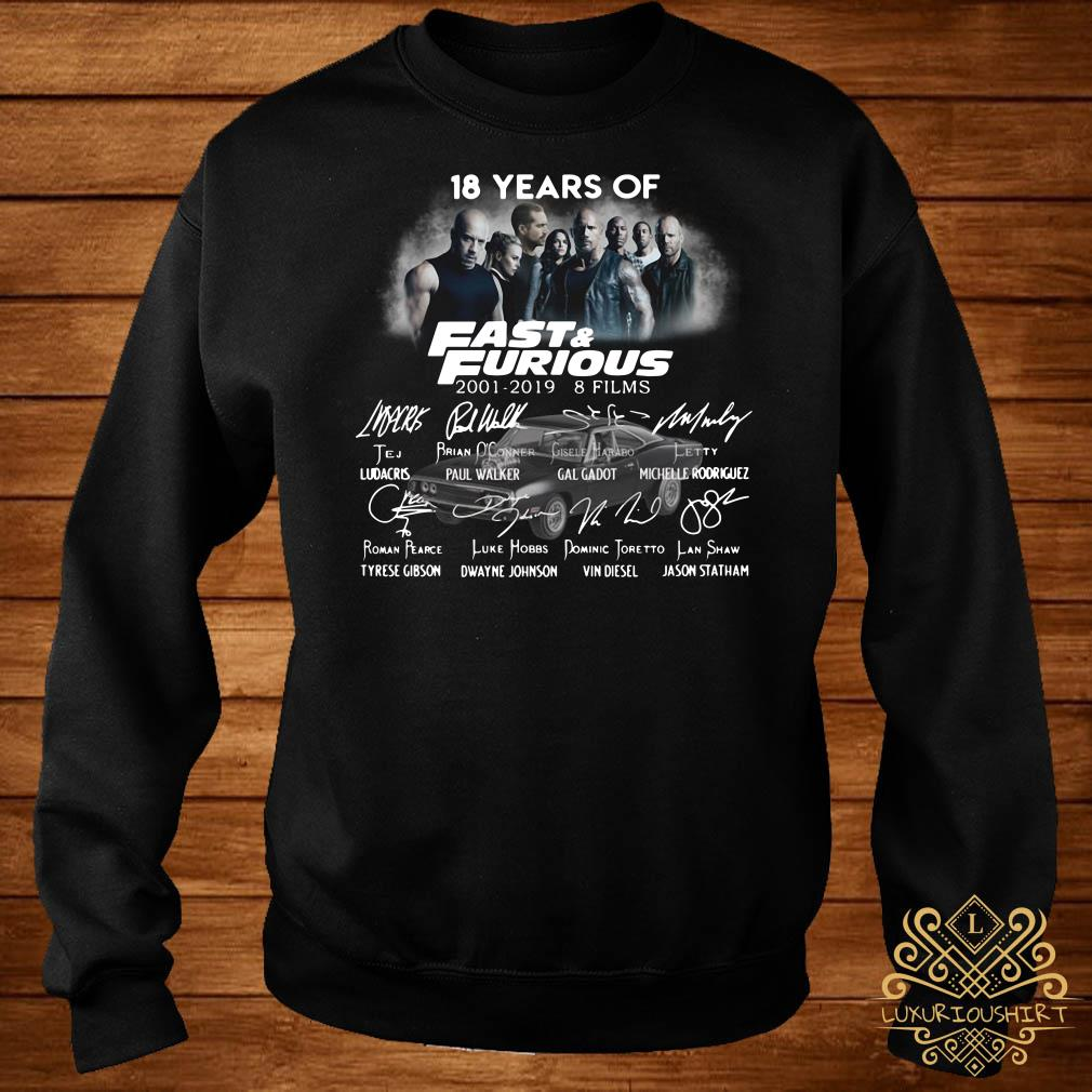 18 Years of Fast Furious 2001-2019 8 films sweater