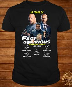 18 Years of Fast and Furious Hobbs and Shaw shirt