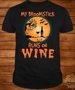 Halloween my broomstick runs on wine shirt