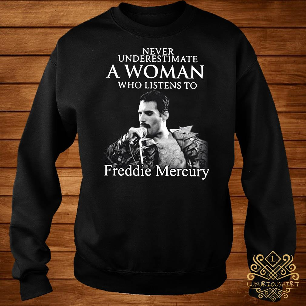Never underestimate a woman who listens to Freddie Mercury sweater