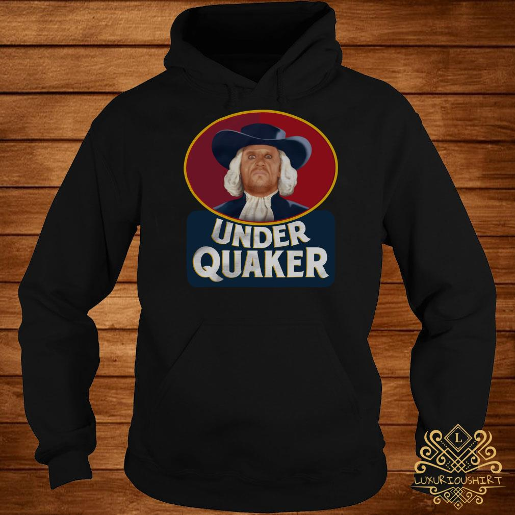Under Quaker hoodie