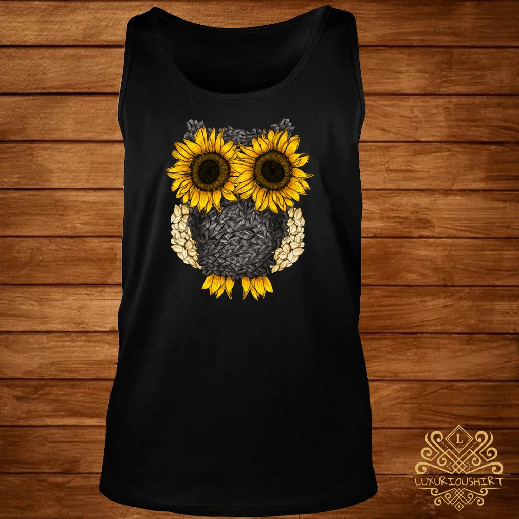 Owl by sunflower and seed tank-top