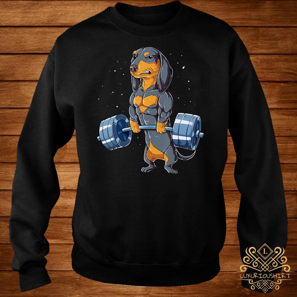 Pretty Dachshund weightlifting fitness gym sweater