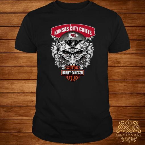Skull Kansas City Chiefs Harley-Davidson motorcycles shirt