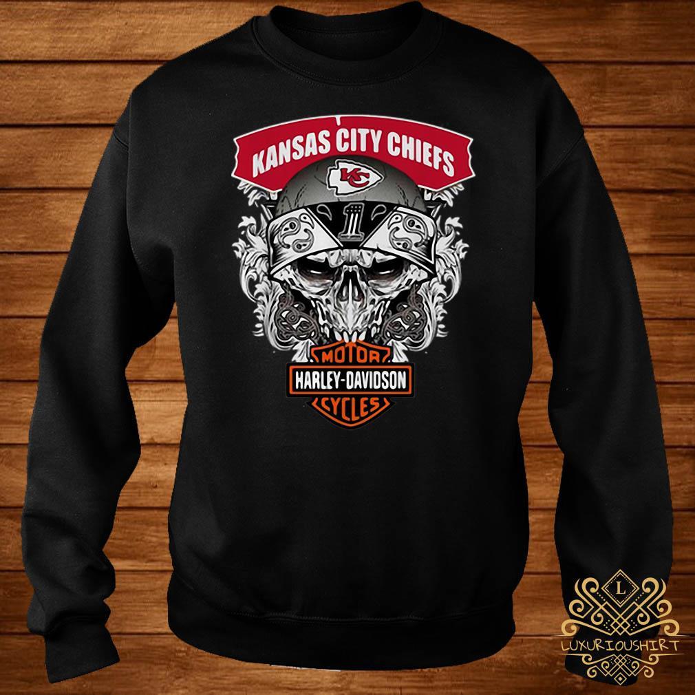 Skull Kansas City Chiefs Harley-Davidson motorcycles sweater