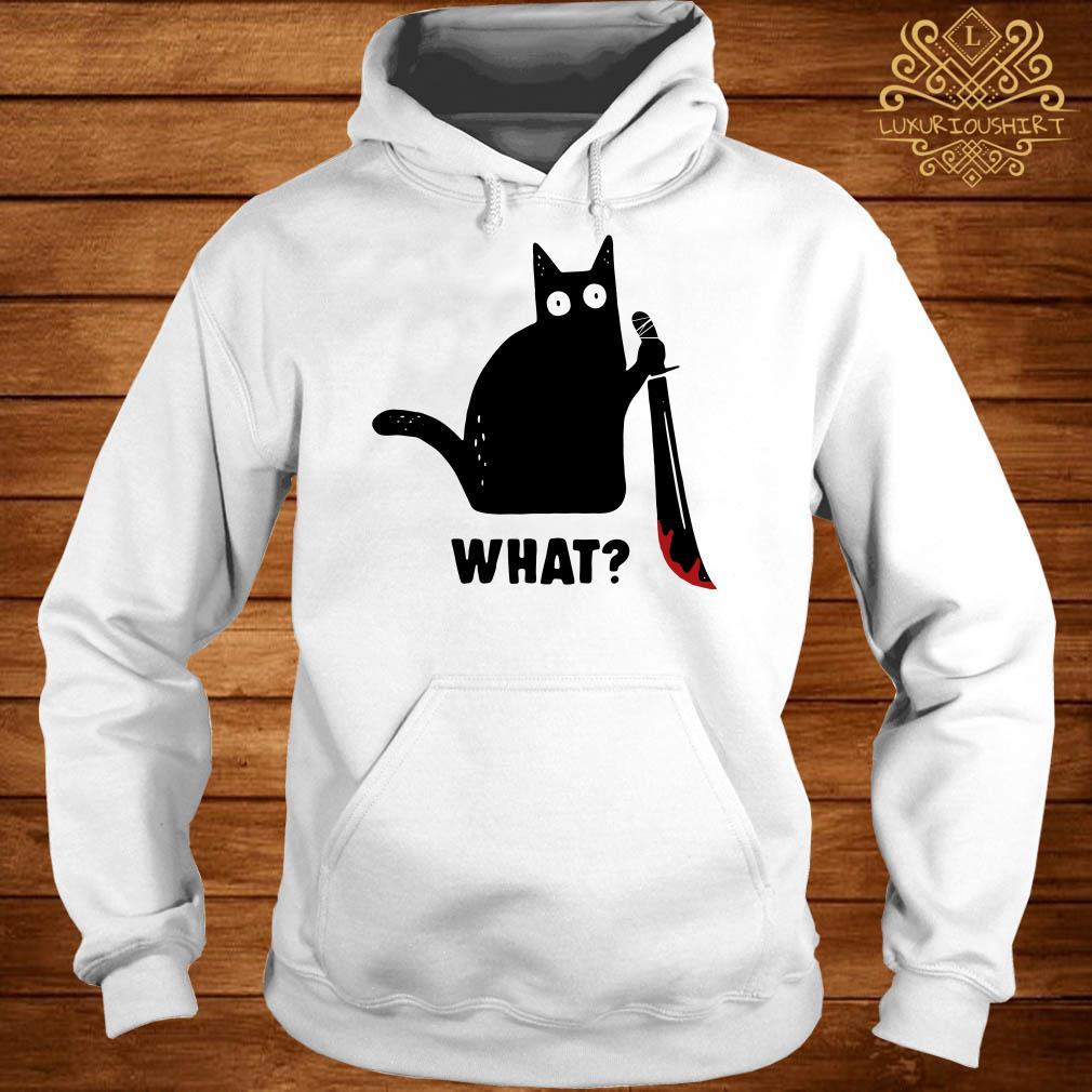 Black cat murderous holding knife Halloween hoodie