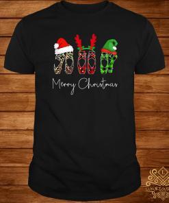 Ballet Shoes Leopard Plaid Printed Merry Christmas Shirt