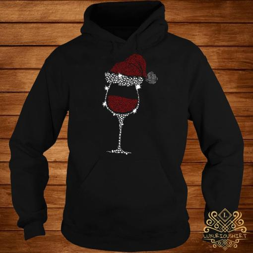 Diamond Wine Glasses Santa Hat Christmas Hoodie
