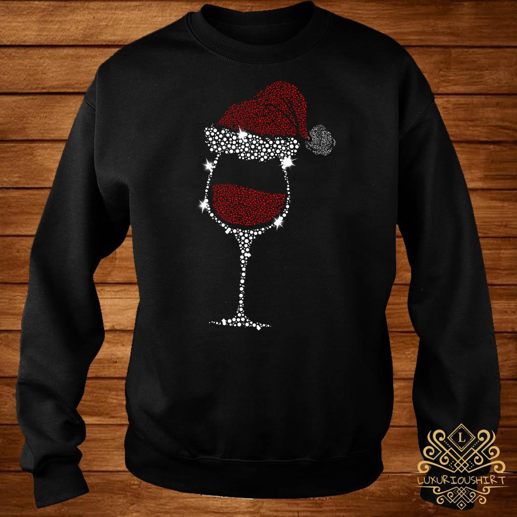 Diamond Wine Glasses Santa Hat Christmas Sweater