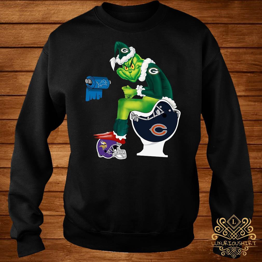Santa Grinch Green Bay Packers Chicago Bears Detroit Lions Minnesota Vikings Toilet Sweater