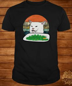 Woman Yelling Confused White Cat At Dinner Vintage Shirt