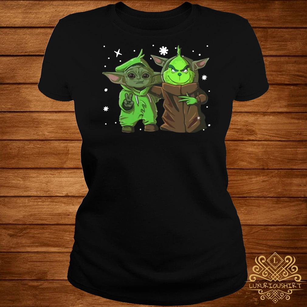 Baby Yoda And Baby Grinch Christmas ladies tee