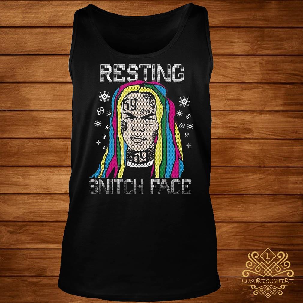 Tekashi69 Resting Snitch Face Ugly Christmas tank-top