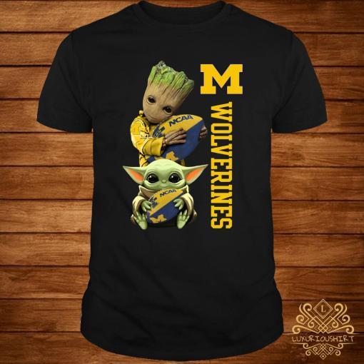 Baby Groot And Baby Yoda Hug Wolverines Shirt