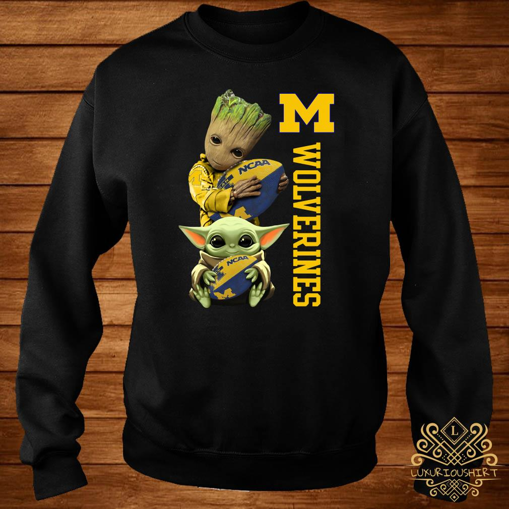 Baby Groot And Baby Yoda Hug Wolverines Sweater