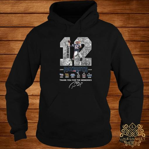 12 Tom Brady Patriots 2000 2020 Thank You For The Memories Signature Hoodie