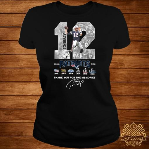 12 Tom Brady Patriots 2000 2020 Thank You For The Memories Signature Ladies Tee