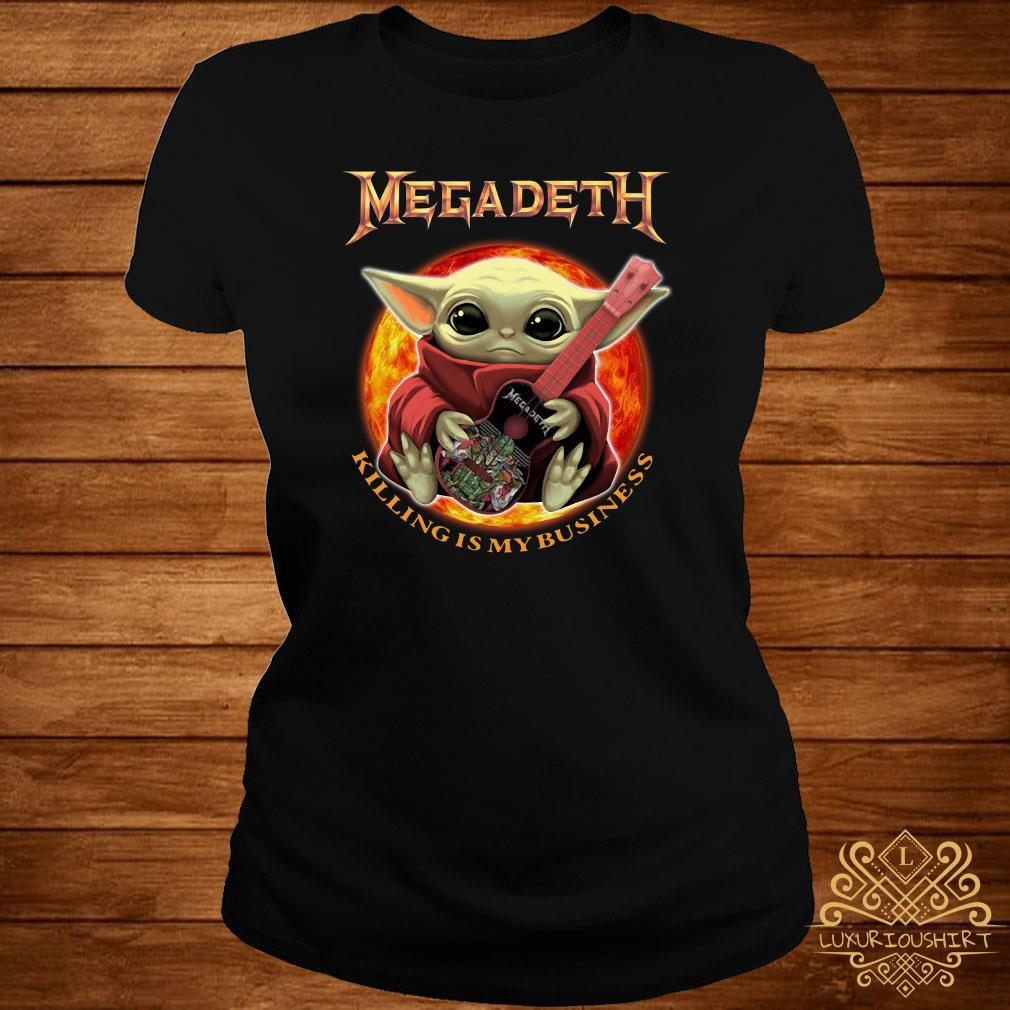 Baby Yoda Hug Megadeth Guitar Killing My Business ladies Tee